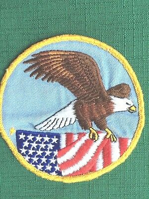 "Eagle & US Flag Patch, Cloth, 3.75"" SEW On- Proud to Wear!!- FREE shipping USA"
