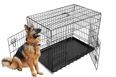 """Cosmetic Damage 48"""" Folding Pet Dog Cat Training Cage Crate Carrier XXL Black"""