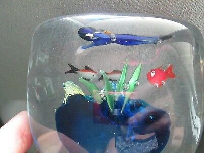 "Large Ocean Scene Scuba Underwater Diver With Fish 4""tall Paperweight Reef Blues"