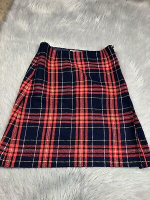 Vintage Juniors Big Girls Navy Red Plaid Acrylic Skirt