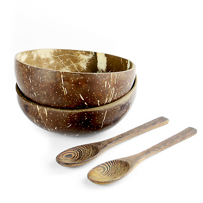 Pack of 2 Coconut Bowls | 100% Eco Friendly Sustainable | Includes Spoons | M&W