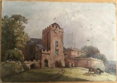 Small Antique Art Picture 19th Century Oil On Board, Gateway for Abbey