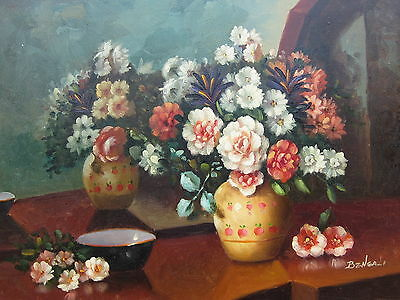 """Classic Lucca Flowers Original Hand Painted 12""""x16"""" Oil Painting Floral Art"""