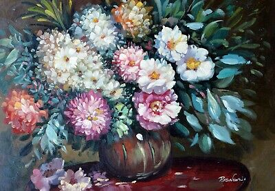 """Bodenwerder Floral Hand Painted 12""""x16"""" Original Oil Painting Canvas Floral Art"""