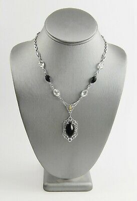 "16"" Antique Estate Art Deco Early 1900'S Rhodium Plate Filigree & Glass Necklace"