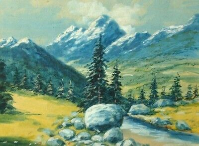 Antique Impressionist Watercolor Painting Mountain River Landscape Signed