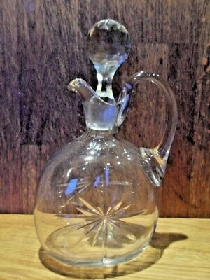 Beautiful Vintage Heavy Glass Decanter with Handle