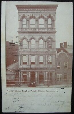 Greensburg PA Masonic Temple No. 102 or Post Office Building, DB Postcard c.1908