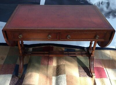 BEVAN FUNNEL retro sofa table 2 drawers  with red leather drop leaf sideboard