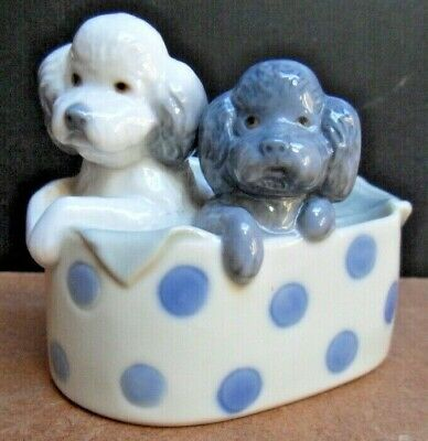 NAO by Lladro Figurine  - Nao Two Poodle Puppies in a Basket