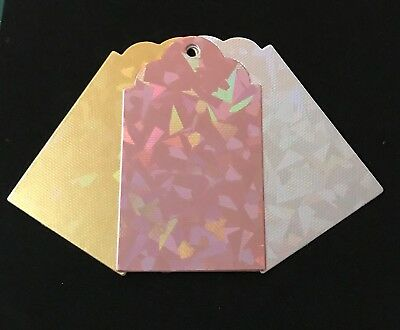12 Holographic Metallic Foil Card Gift Tags