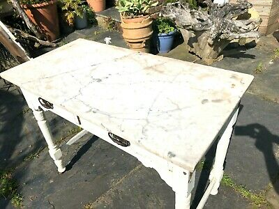Victorian Shabby chic marble top side table with two drawers