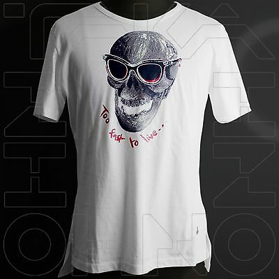 VIVIENNE WESTWOOD MAN JAPAN CHEST 39 TOO FAST TO LIVE T-SHIRT COTTON skull w orb