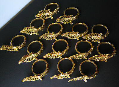 14 Antique Gilt Brass Ornate Curtain Rings