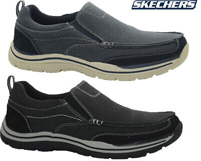 Mens Sketchers Relaxed Fit Slip On Casual Walking Driving Boat Shoes Trainers Sz