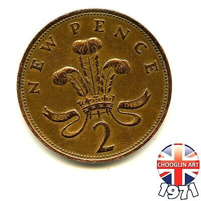 A 1971 British Bronze ELIZABETH II TWO NEW PENCE 2p coin