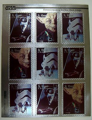 St Vincent 1995 Mnh Star Wars Silver Stamp Sheet Commemorating Star Wars Trilogy