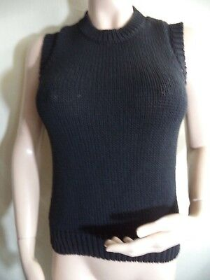 Calvin Klein Womans Vest Black Heavy 60% Cotton 40% Nylon Size M Hong Kong VGC