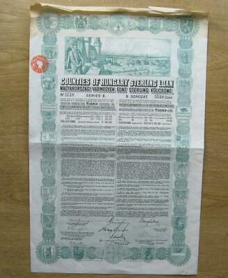 Counties Of Hungary Sterling Loan - 100 Pfund - 1926