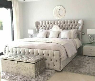 New Stylish Crushed Velvet Wingback Chesterfield Diamante Oxford Sleigh Bed