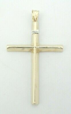 "Nice 10K Yellow Gold Religious Angled Cross Charm Pendant 1.75"" 1.3 Grams D8857"