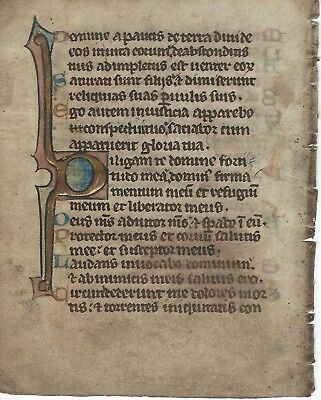 A Medieval Flemish Psaltery Leaf In Heavy Gold With Acrostic
