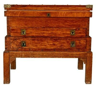 English Campaign Style Oak Chest Box w/ Drawers on Stand