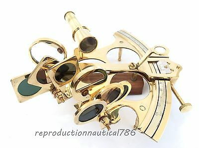 Solid Brass Working Sextant Handmade Nautical Astrolabe Desk Navigation Sextant