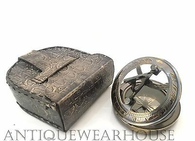 Solid Brass Working Navigation Compass With Handmade Stitch Case Vintage Compass