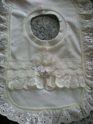 Romany Blinged ivory cotton, lace and anglaise Baby Christening bib