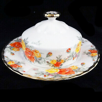 PACIFIC ROSE by Royal Albert Covered Butter Dish NEW NEVER USED made in England