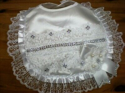 Romany Blinged Ivory Satin Lace and diamante Baby Christening bib
