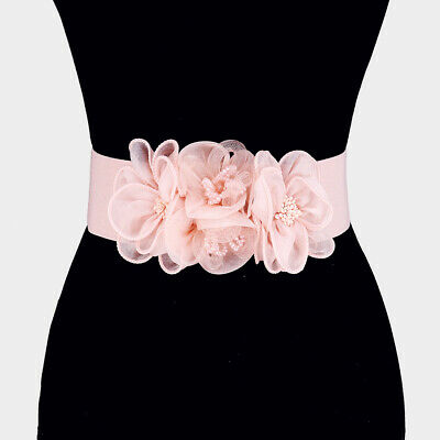 Stretchable Women's Pink Mesh Beaded Floral Elastic Belt
