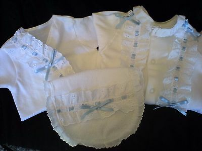 Romany Blinged Baby Layette Set in White/Blue - Sizes 0-1 month