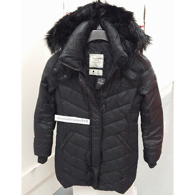 a435e3810ef Abercrombie & Fitch Womens Quilted Nylon Parka Jacket Coat Black Size Xs