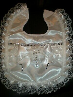 Romany Blinged white Satin Lace and diamante Baby Christening bib