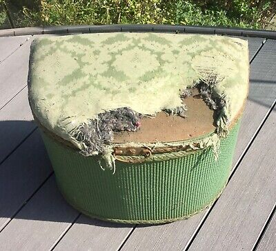 Vintage Lloyd Loom style rattan upholstered linen basket upcycle project