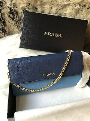 9792a2389e5b NWT AUTHENTIC Prada Saffiano Leather Envelop Wallet On Chain Woc In Navy &  Blue