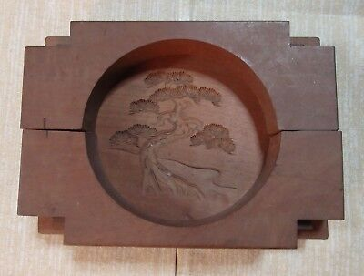 Antique Wooden Japanese Cake Mold KASHIGATA Japan Karate Kid Miyagi-do Bonsai