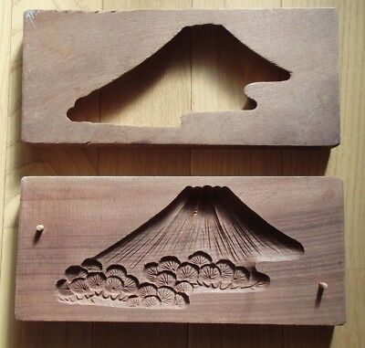 Antique Wooden Japanese Cake Mold Chocolate KASHIGATA Japan wood Mt. Fuji