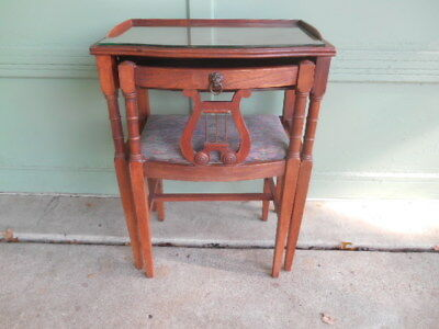 Antique Vintage Mahogany Matching Telephone Table & Chair w/ Harp Lyre Back