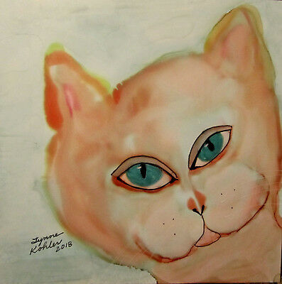 "Soft orange Cat face by Lynne Kohler 5x5"" original alcohol ink painting"