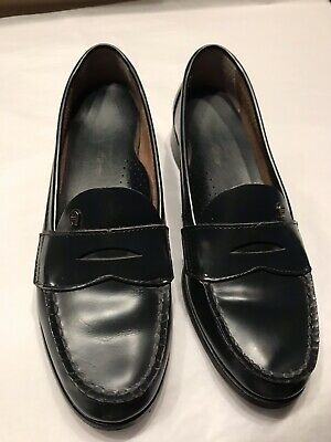 20f213a0a48 VINTAGE PENNY LOAFERS Shoes Leather Black Womens 7 8 8.5 Mootsies ...