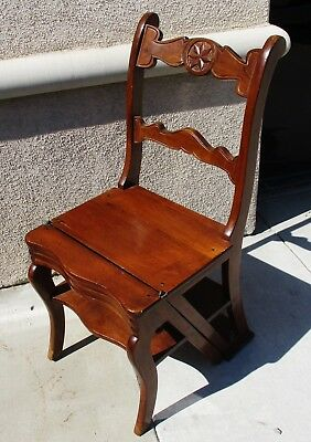 Vintage Continental French Victorian  Italian Metamorphic Library Steps Chair