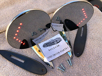 New Pair Of ( L.e.d ) Classic Style Door / Fender Mirrors With Turn Arrows !