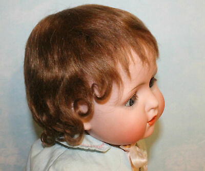 Blonde or light brown mohair wig for antique bisque baby toddler doll size 7 - 8
