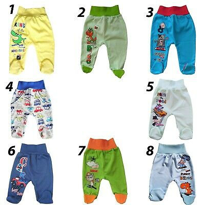 Baby Infant Boys Trousers with feet Pands 100% Cotton Newborn/0-3/3-6 Months