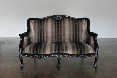 "Stunning French Hand-Carved ""Fauteuil"" Small Sofa in Black Wood and Romo ""Zin..."