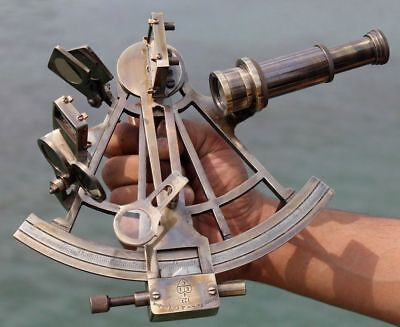 "Nautical Hand-Made Heavy 7"" Brass Sextant Astrolabe Sextant - By Masco-Nauticals"