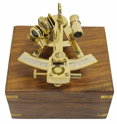 "Nautical 5"" Brass Sextant With Wooden Box - Marine Ship Engine Instrument"